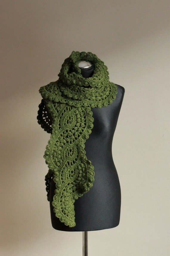 Crocheted lace scarf in forest green