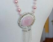 Long Silver Chain Necklace with Large Rose Quartz Pendant, Agnes Collection