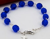 Birthstone Rosary Bracelet with Silver Cross, Choose Your Birthstone or Color