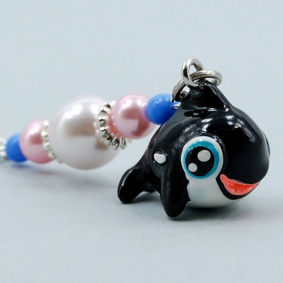 Killer Whale Bookmark with Resin Charm, Glass Beads and Pearls, Shepherds Hook Metal Bookmark