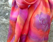 Silk Scarf Hand Painted Purple Roses In Pink And Orange