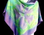 Hand Painted Silk Scarf Satin Square Emerald Green Lavender Purple Floral