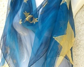 Silk Scarf Hand Painted Gold Stars Midnight Blue Sky TT Team