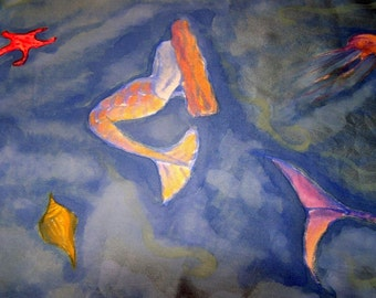 Hand Painted Silk Scarf Mermaids Ocean Paradise, Blue Silk Satin Scarf
