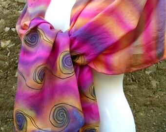 Hand Painted Silk Scarf Black Swirls Pink Orange Purple Stripes