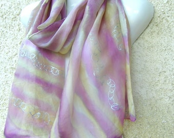 Hand Painted Silk Scarf Pastel Vanilla Lilac Forest Fruit Silver