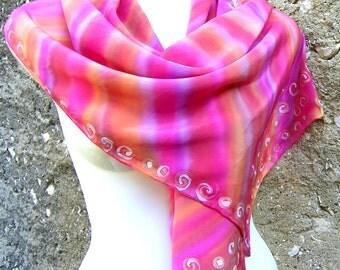 Hand Painted Silk Scarf, Handpainted Silk Scarf, Multicolor Pink Purple Burnt Orange Sunset Colors