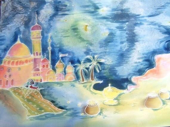 Silk Scarf, Hand Painted Silk Satin Scarf, Arabian Nights, Scheherazade, CUSTOM ORDER, Theme By Your Choise