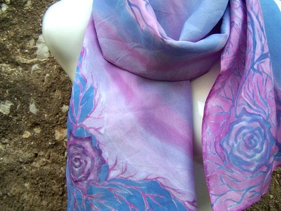 Hand Painted Silk Scarf Pastel Pink Aqua Blue Roses