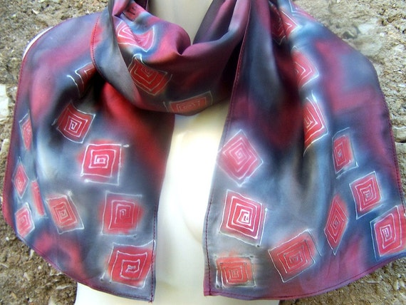 Hand Painted Silk Scarf Satin Silver Simplicity Square Elegance