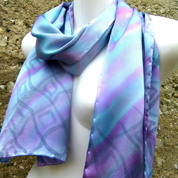 Hand Painted Silk Scarf Pastel Satin Light Blue Purple Grey Stripes And Squares