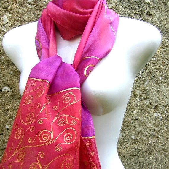 Silk Scarf Hand Painted Pink Red Purple Copper Swirls Abstract Art Deco
