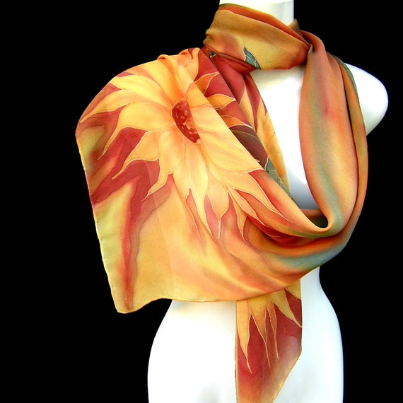 Hand Painted Silk Scarf Floral Sunflowers Gold Brown Butterscotch Georgette