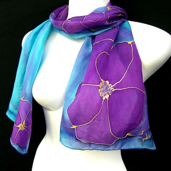 Hand Painted Silk Scarf Floral Aqua Turquoise Amethyst Purple Vibrant Scarflette