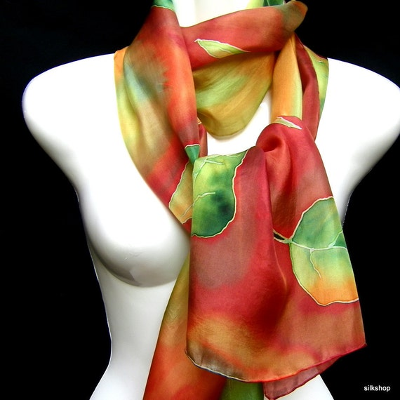 Silk Scarf Hand Painted Fall Leaves Burnt Orange Sienna Gold May Green Woodland Rustic
