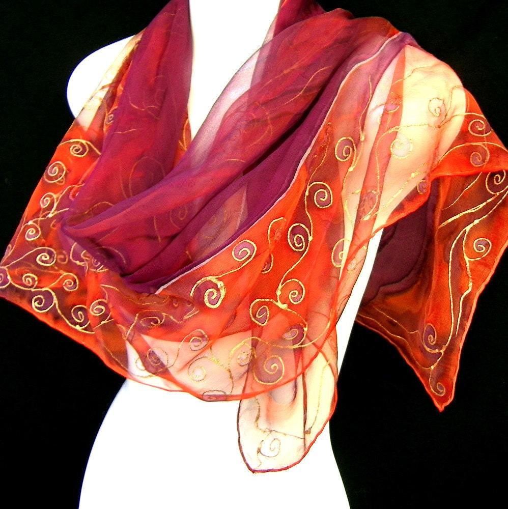 silk scarf painted square chiffon eggplant purple