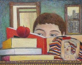 "Art Original Oil Pastel Drawing Portrait Nude Magazine Still Life Bed Room Book Apple Quebec Canada Audet ""Discovering Eagon Schiele"" 16 x20"