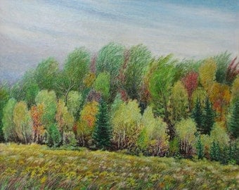 "Art Drawing Oil Pastel Fall Landscape Autumn Appalachian Eastern Townships Quebec Canada By Audet "" Painting The Wind, Quebec "" 20"" x 24"""