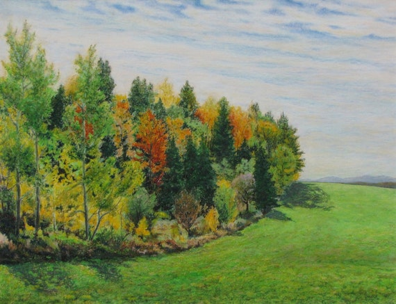 Art drawing oil pastel original autumn forest country for A perfect 10 nail salon rapid city