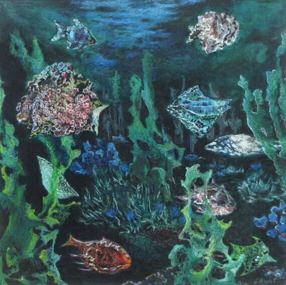 Art collage oil pastel acrylic underwater nautical fish ocean for Ocean blue fish oil