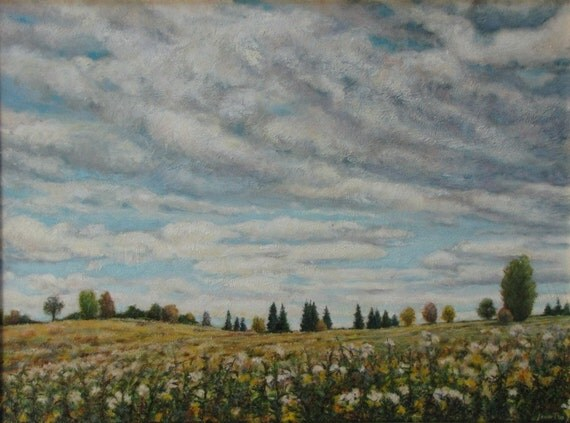 "Art Original Landscape Oil Painting Sky Clouds Summer Field Eastern Townships Appalachian Country Flower Quebec Canada "" Rolling Clouds """