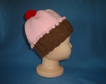 Child's Knitted CUPCAKE HAT