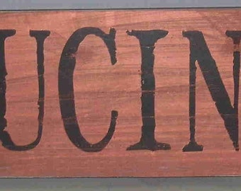 copper and black cucina italian kitchen shabby wooden sign