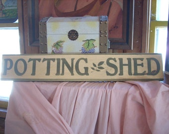 Potting Shed Sign Wooden Shabby Chic Farm Gardening