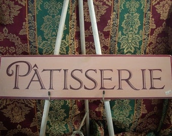 Patisserie Shabby wood sign pink and burgundy