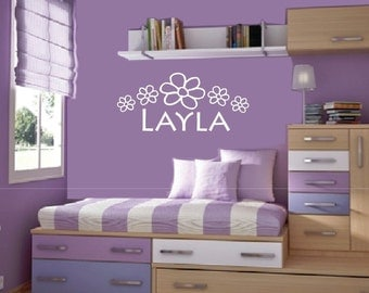 Wall Decal Personalized Name Flower Vinyl Sticker Word Art Lettering