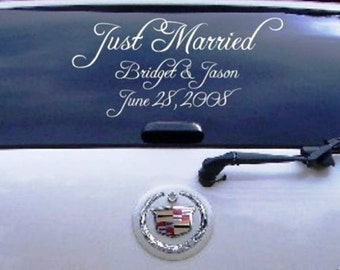 Wedding Just Married Car Decal Personalized Name Date Window Decoration Vinyl Sticker