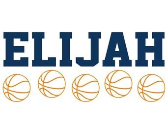 Wall Decal Personalized Name Basketball Children Sports Vinyl Sticker Word Art Lettering Bluestreak Decals