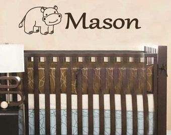 Wall Decal Personalized Hippo Baby Name Children Vinyl Sticker Word Art Lettering Bluestreak Decals