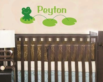 Wall Decal Frog on Lily Pad Personalized Name Baby Children Vinyl Sticker Word Art Lettering