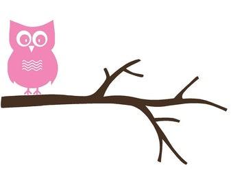 Wall Decal Owl on Tree Branch Vinyl Sticker Word Art Lettering by Bluestreak Decals