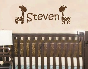 Wall Decal Giraffe Personalized Baby Name Children Custom Vinyl Sticker Word Art Lettering