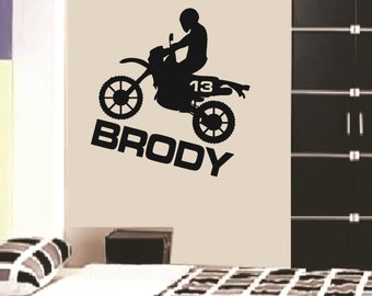 Wall Decal Dirt Bike Personalized Boys Name Vinyl Sticker Word Art Lettering