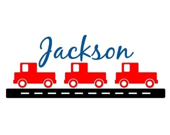 Wall Decal Children Trucks Personalized Name Vinyl Sticker Word Art Lettering
