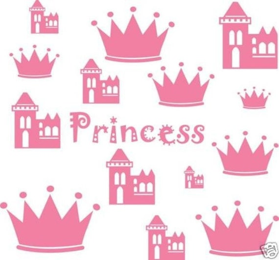 Assorted Princess Castle Wall Decal Crown Word Decor Vinyl