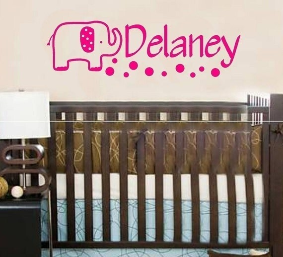 Wall Decal Elephant Personalized Name Baby Children Girls Kids Vinyl Sticker Word Art Lettering