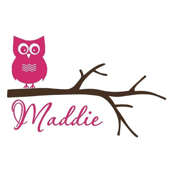 Wall Decal Owl on Tree Branch Personalized Name Vinyl Sticker Word Art Lettering by Bluestreak Decals
