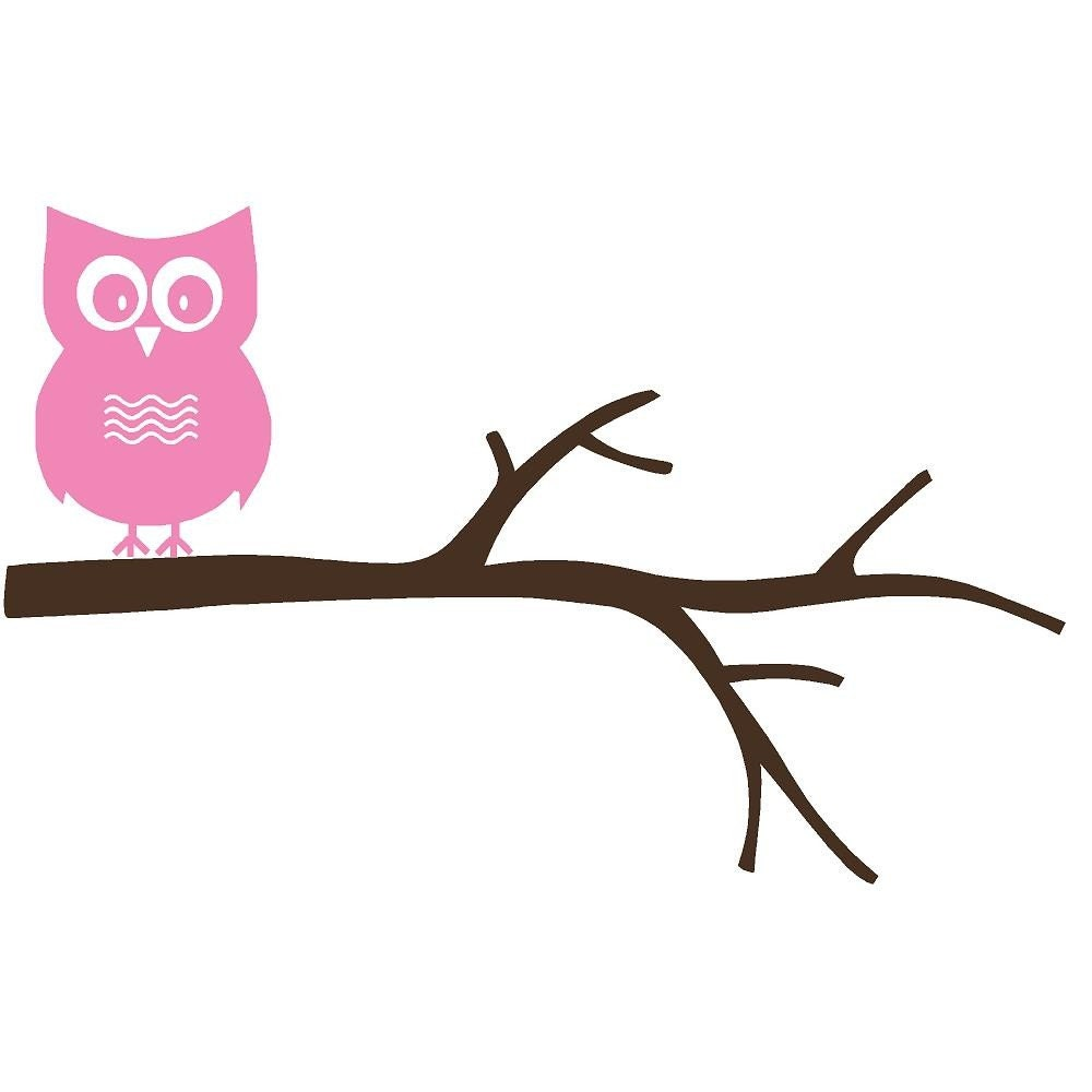 Owl on a branch wall decal hd pictures