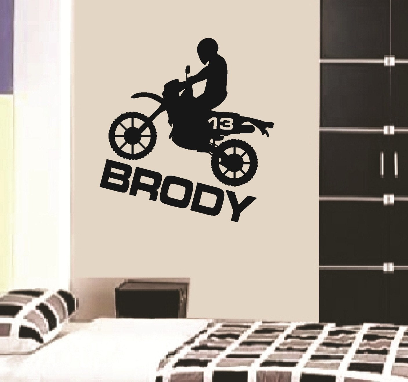 Wall decal dirt bike personalized boys name vinyl sticker word Boys wall decor