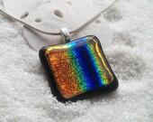 Dichroic Rainbow Glass Pendant Necklace