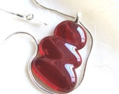 Deep Red Glass Jewelry Pendant Necklace