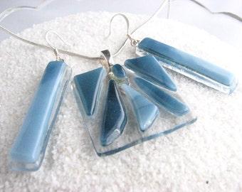 Pendant Necklace & Dangle Earrings, Faded Denim Blue, Chunky Art Glass Jewelry Set