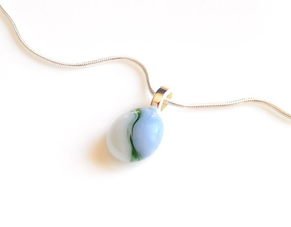 Green Blue and White Pendant Necklace Fused Glass