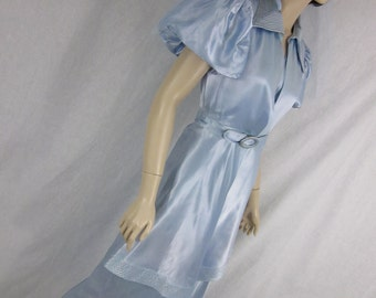 1930s Blue Satin Wedding Gown with Jacket