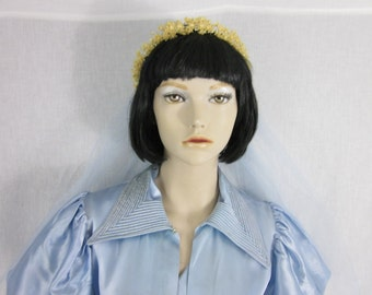 1930s Wax Flower Bridal Crown with Blue Tulle Veil