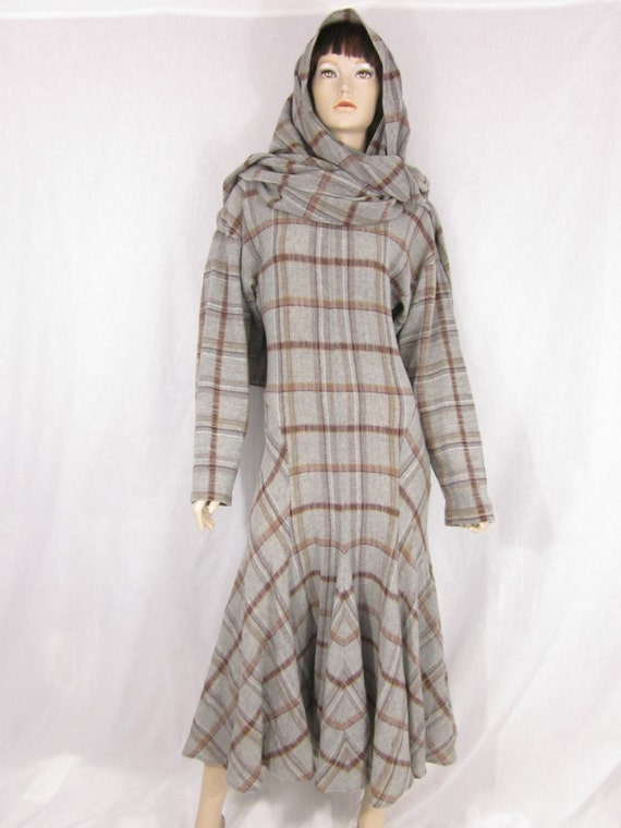 On Hold for Marilyn Norma Kamali Wool Plaid Hooded Dress